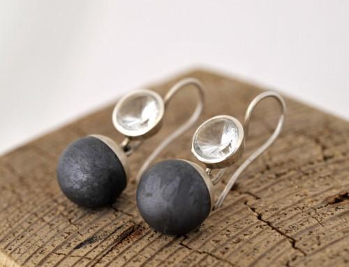 Ohrringe Silber Siliciumkugel