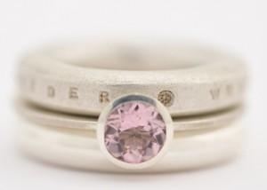 Sabine-Hasselbach-Ring-Silber-3er Kombi-Morganit-rosa-Wunderring-Zwischenring