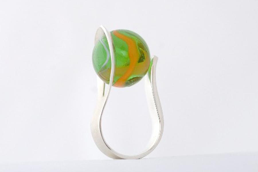 Sabine-Hasselbach-Ring-Silber-Murmelring-Glasmurmel-Murmel-austauschbar